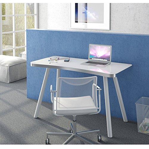 lisel-de Maja - Scrivania per Computer, Modello 2016, in Alluminio e Vetro Bianco, 120 x 73 x 60 cm