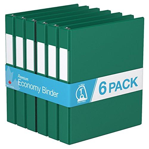 "Premium Economy, Angle D Ring, Binder, 6 Pack (1"", Green)"
