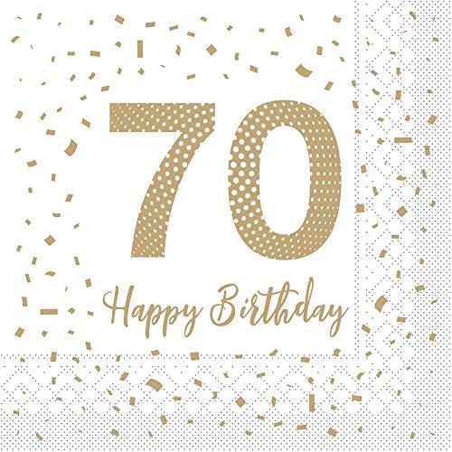 Vlag Happy Birthday servet, 70 uit Tissue 33 x 33 cm, 100 stuks, verjaardagsfeest, 70 stuks, papieren servet