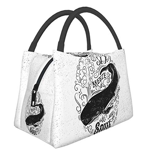 Insulated Neoprene Lunch Bag Lunch Tote For Work And School Print Whale Breeze Is Perfume To My Soul Phrase With Vintage Label Whale Life Graphic Black White