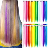 K&G HAIR 32Packs Colored Hair Extensions 20Inch Straight Color Clip in on Hair Extension Rainbow Party Highlights Synthetic Hairpiece for Girls (16 colors)