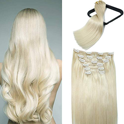 Platinum Blonde Clip In Human Hair Extension 10A Grade Brazilian human hair extension 100% Naturally Human Silky Straight Hair Clip in Extension For Fashion Women(20In 120g 7Pcs)
