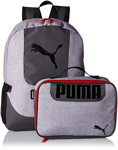 PUMA Big Kid's Lunch Box Backpack Combo, gray/red, OS