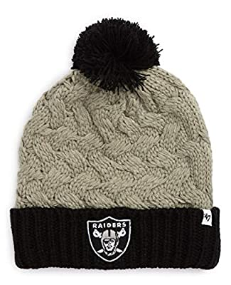 '47 Brand Women's Cuff Matterhorn Beanie Hat with POM POM - NFL Ladies Cuffed Crochet Knit Toque Cap
