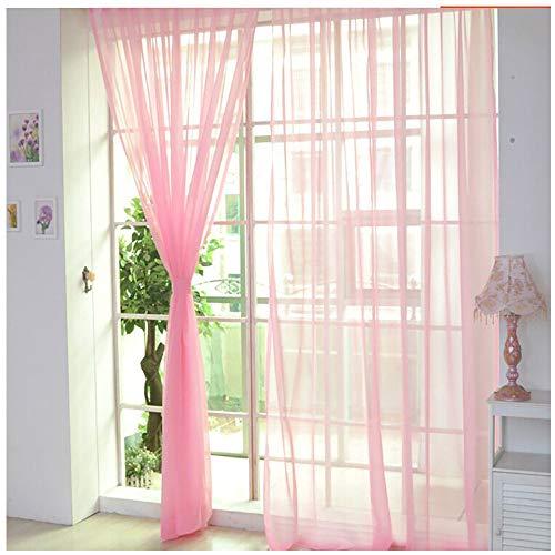 Vorhang Gardinen Reine Farbe Tüll Türfenstervorhang Drapieren Panel Schiere Schal Volants Dekorative und Lichtdurchlässigkeit Schutz der Privatsphäre für Zimmer (J 2X1M)