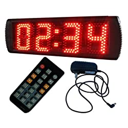 BESTLED 5inch 4 Digits Semi-Outdoor LED Digital Clock Red Color wall clock countdown/up remote control