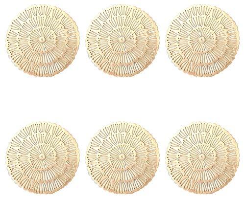 ASFINS Untersetzer Gold, 6 Stück Untersetzer Gläser Tischset Rund Vinyl Hohl Platzsets Abwischbar PVC Tischuntersetzer für Küche, Zuhause, Speisetisch (12 x 12cm) -B