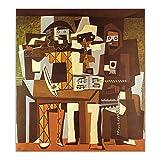 djnukd Pablo Picasso, Tres Músicos, Lienzo, Pintura Al Óleo, Póster Abstracto, Pintura, Cuadro Decorativo, Decoración De Pared, Decoración del Hogar, Póster-50X60Cmx1 Sin Marco
