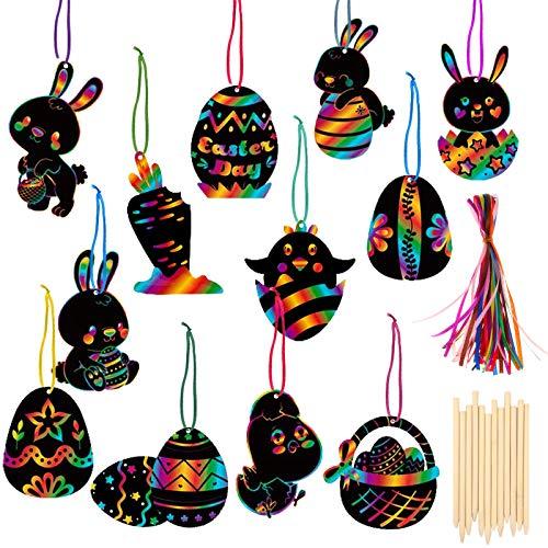 HOWAF Pascua Manualidades y Artesanía para Niños, 36 Pascua Scratch Art para Niños Esgrafiado Dibujo, Bricolaje para Regalo Etiquetas Pascua Ornamento Decorar Creativo Artículos