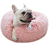 Small Dog Bed Pink Washable Anxiety Doggie Beds for Small Size Dogs Faux Fur Pet Bed for Pug Puppies Kitten Cats 19 Inches Girl Princess Dog Bed