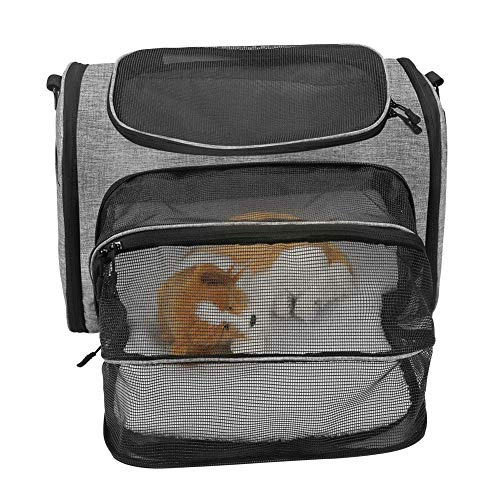 ESSEASON Expandable Travel Pet Carrier, Airline Approved Pet Carrier Backpack for Small Dogs, Puppies, Cats, Kittens,Soft Sided Flodable Cat Carrier with Soft Fleece Mat
