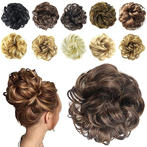 Ealicere 1 Stück Haarteil Haargummi, Hochsteckfrisuren Brautfrisuren Unordentlicher Dutt Gummiband Haarverlängerung Haarband Unordentlich Dutt,30 g,Hellbraun(10#)