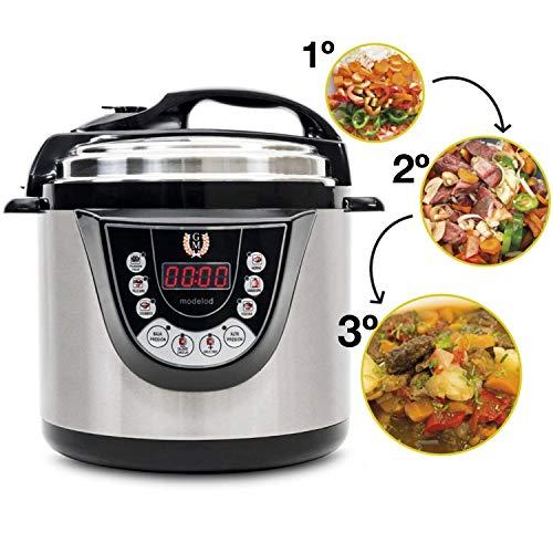 Olla GM Programable Modelo G Deluxe. Robot de Cocina multifunción Que Cocina por ti, con Capacidad de 6 litros (hasta 12 raciones). Navegador GMDrive. Cubeta Excelsior.… (Modelo D)