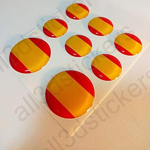 Pegatinas Bandera España Redondas 8 x Pegatina España Resina ...