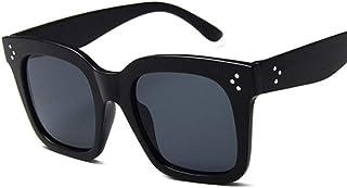 none_branded - Gafas de sol cuadradas negras para mujer, marco grande, degradado, estilo vintage, para hombres, Uv400