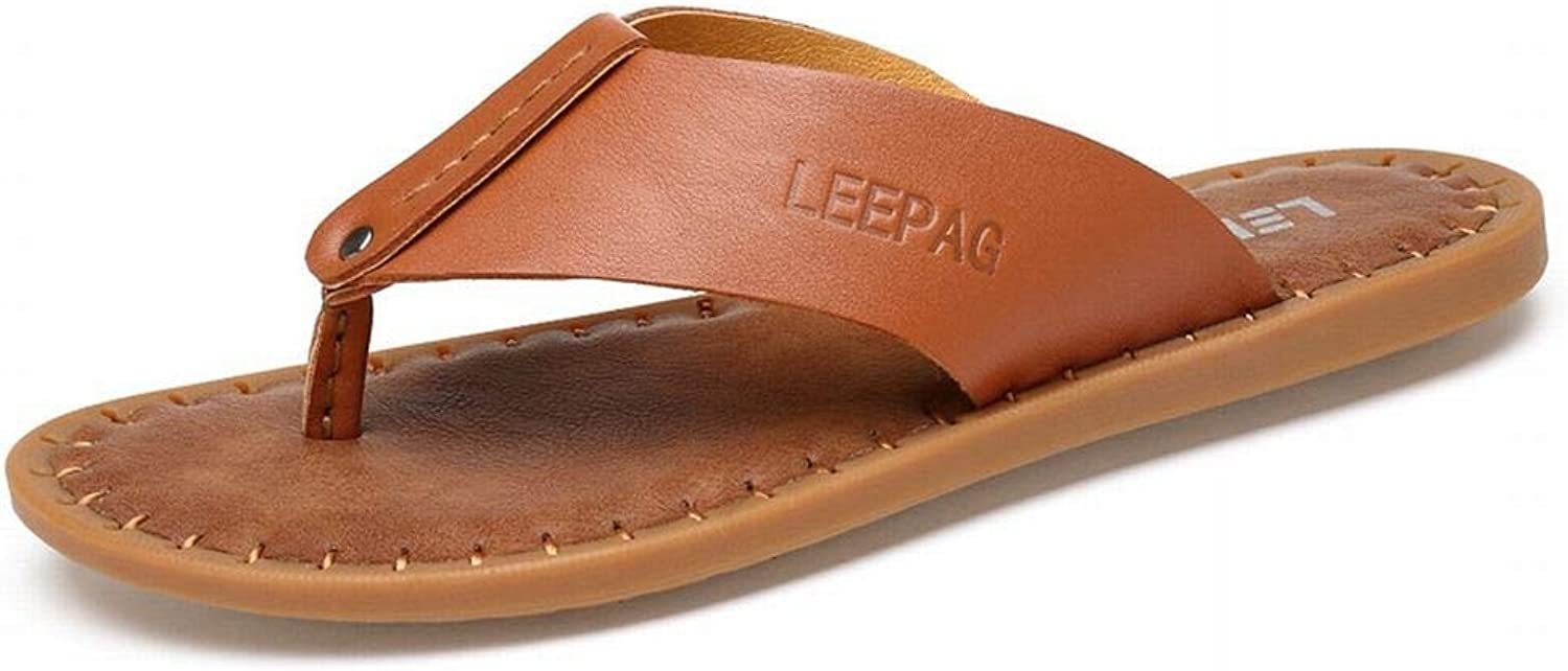 Summer Leather Flip-Flops Handmade Cool Men's Slippers Beach shoes (color   Brown, Size   43)