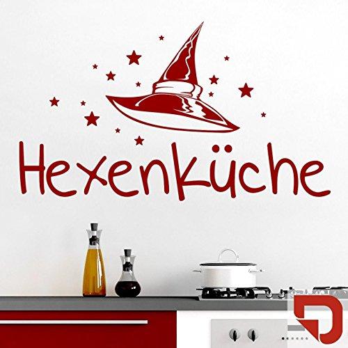 DESIGNSCAPE® Wandtattoo Hexenküche mit Hexenhut und Sternen - Wandtattoo Küche 60 x 35 cm (Breite x Höhe) rot DW803376-S-F20