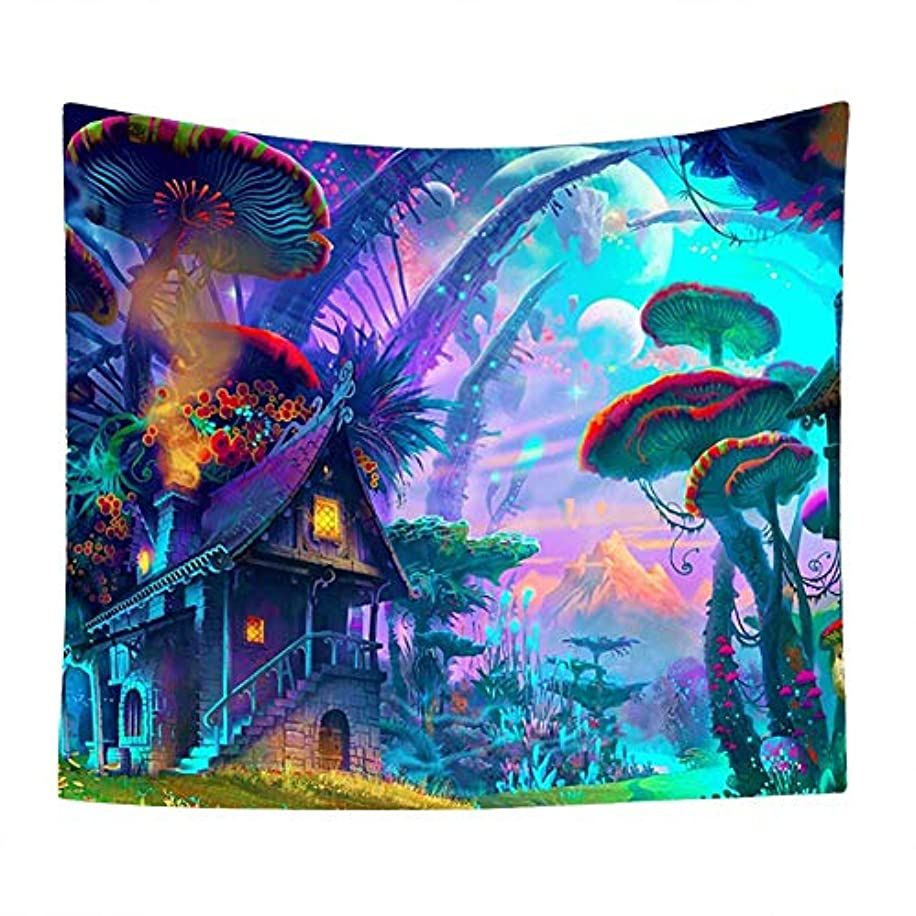 QuanCheng 3D Printing Fantasy Plant Magical Forest Tapestry Trippy Psychedelic Mushroom Electric Forest Art for Home Decor Wall Hanging Tapestry(51Wx59L)