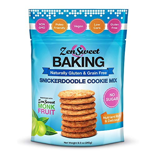 ZenSweet Baking Snickerdoodle Cookie Mix - Naturally Gluten Free & Grain Free, Low Carb, Sugar Free, Zero Glycemic Index, Non GMO, Keto Paleo Vegan & Diabetic Friendly (9.3 oz, Pack of 1)