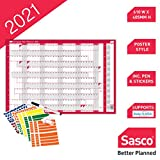 Sasco 2021 Compact Year Wall Planner Landscape with Wet Wipe Pen & Sticker Pack, Red, Poster Style, 610W x 405H mm, 2410132