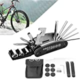 Kits de Herramientas de Reparación de Pinchazos para Ciclismo MTB de Bicicleta 16 en 1, Artilugios, Juegos de Herramientas Múltiples de Palancas de Neumáticos, Bolsa de Kit de Reparación