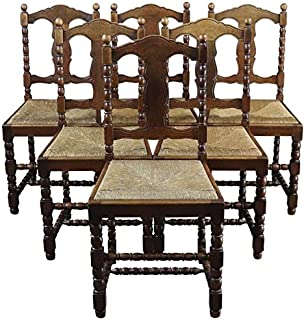 EuroLuxHome Dining Chairs French Country Farmhouse Vintage 1920 Oak Rush Set 6