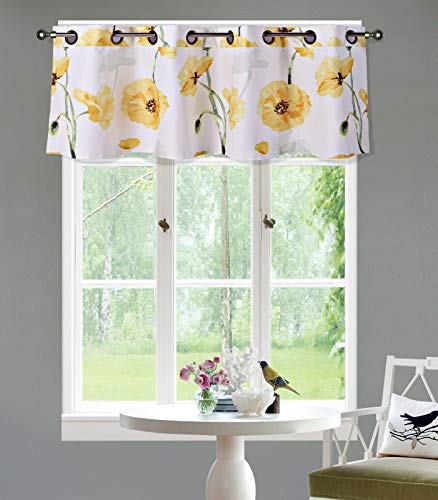 Sapphire Home 1PC Grommet Floral Valance, Decorative Yellow Floral Print, Soft, Light Filtering Room Darkening Thermal Foam Back Lined, Window Valance Decoration, Grommet Valance Yellow