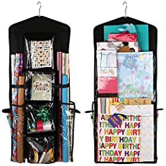 EASY TO USE. The dual-sided hanging organizer is 40''x 16''. It is lightweight and can be hung in no-time. This high-quality product can be used to store a variety of gift-wrap items. DURABLE. The storage unit comes with a built-in metal hanger which...