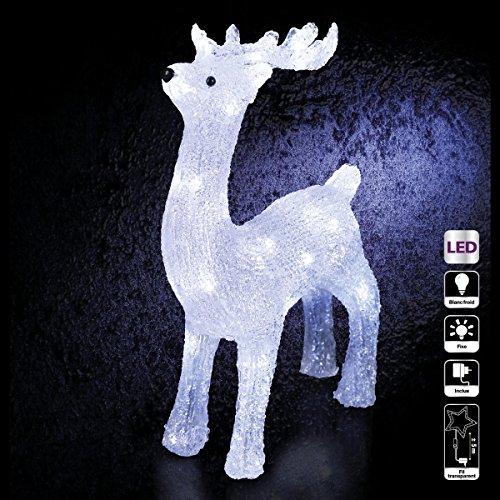 Déco Noël - Renne lumineux - effet givré - 40 lampes led Blanches