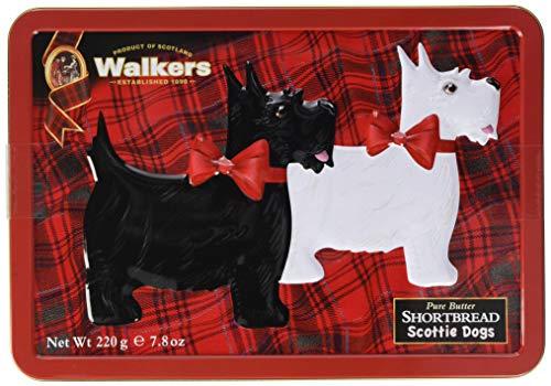 Walkers Shortbread Gebäckdose Scottie Dogs, Reliefdose inklusive Shortbread-Gebäck, 220 g