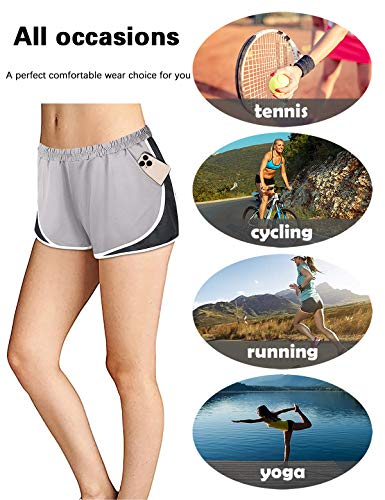 Fulbelle Yoga Shorts for Women, Teen Girls Biker Shorts for Women Lounge Athletic Hiking Running Workout Exercise Gym Golf Clothes Flatter Modest Built in Spandex Shorts Grey Large