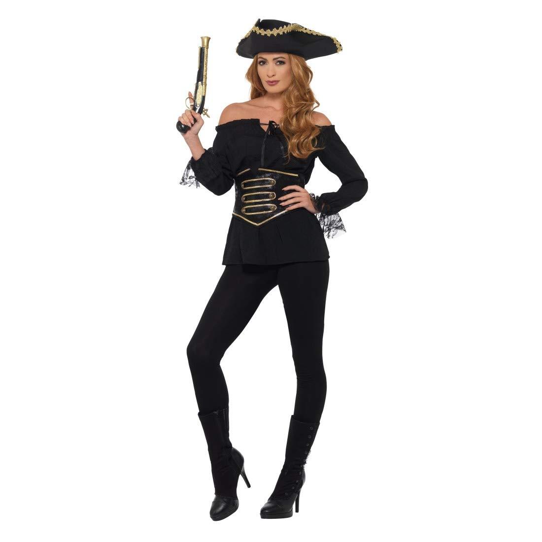 NET TOYS Camisa de Pirata para Dama | Negro en Talla M (ES 40/42) | Llamativo Outfit de Pirata para Mujer Fiestas de Pirata y Fiestas temáticas: Amazon.es: Juguetes y juegos