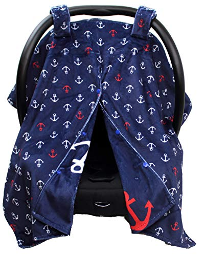 Dear Baby Gear Deluxe Reversible Car Seat Canopy, Custom Minky Print with Printed Cotton, Red and White Anchors on Weathered Navy Blue
