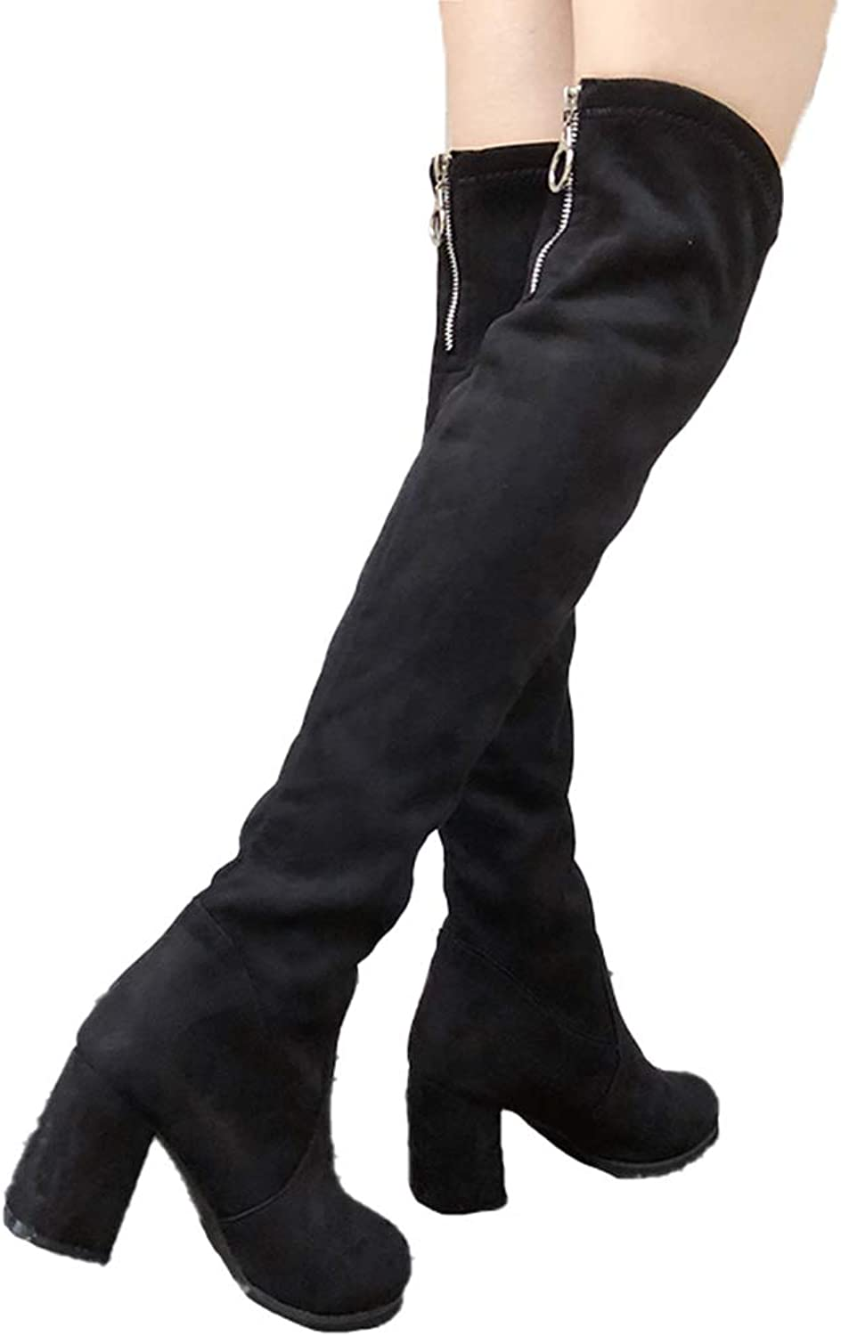 Women Fashion Winter Thigh High Boots Suede Slim Boots Over The Knee High Boots