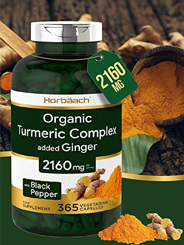 Organic Turmeric Curcumin 2160mg | 365 Capsules | High Strength Complex + Black Pepper & Ginger | Non-GMO, Gluten Free & Vegetarian | by Horbaach