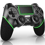 QULLOO Controller per PS4, Wireless Bluetooth Gioco Controller con Doppia Vibrazione / 6-Assi / Jack Audio / TouchPad, Joystick Gamepad Compatibile con PlayStation 4 / PRO / Slim (Verde)