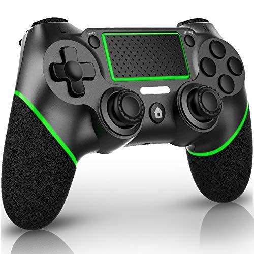 QULLOO Controller per PS4, Wireless Bluetooth Gioco Controller con Doppia Vibrazione / 6-Assi/Jack Audio/TouchPad, Joystick Gamepad Compatibile con Playstation 4 / PRO/Slim (Verde)