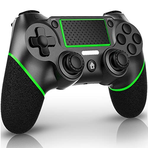 QULLOO Controller für PS-4, Wireless Bluetooth Controller mit Dual Vibration / 6-Achsen/Audiofunktionen/TouchPad, Gamepad Joypad Joystick Kompatibel mit PS-4 / Pro/Slim (Grün)