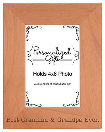 ThisWear Grandparents Gifts Best Grandma Grandpa Ever Natural Wood Engraved 4x6 Portrait Picture Frame Wood