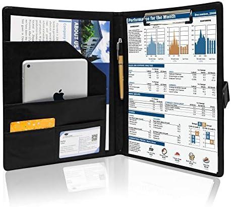 GraduationMall Business Magnetic Closure Portfolio Padfolio PU Leather Folder Interview Resume product image