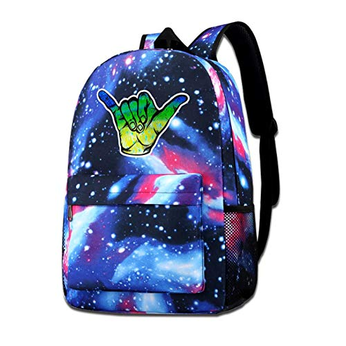Mahi Fish Scale Hang Loose Shaka Backpack Shoulders Bag Star Blue-Sky Travelling Knapsack