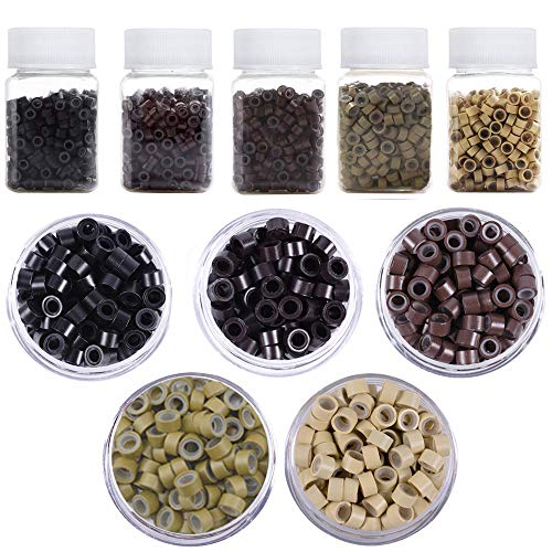 Kalolary 2500PCS Micro Rings Links Beads, 5mm Micro Link Rings for Tip Hair Extensions Feather Hair Extensions Tool (5 Color)