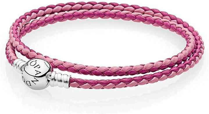 Pandora Bracelet pour femme en cuir rose (double enroulement) 590747CPMX