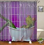 Bañera Blanca Verde Rana Linda Naranja Ojos púrpura Pared Cortina de baño Cortina de baño decoración Tela Impermeable