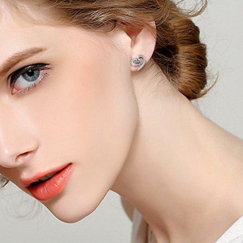 B.Catcher Silver Earrings Love Heart Cubic Zirconia Studs Earrings Set