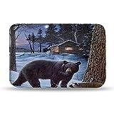 Colorful Star Black Bear Design Memory Foam Non Slip Bath Mat Machine-Washable Small Flannel Bathroom Rug Carpet for Kids 24