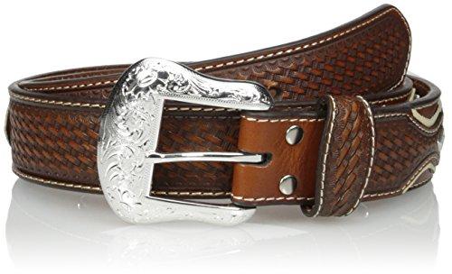 Nocona Belt Co. Men's Pro Brown Circle Silver Overlay, Natural, 42