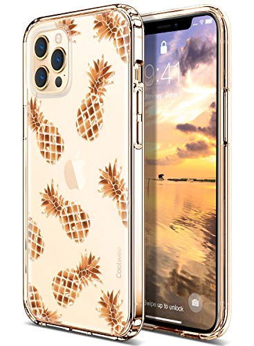 Coolwee for iPhone 12 Pro Max Case Rose Gold Pineapple Floral Women Girl Men Foil Clear Design Shiny Glitter Hard Back Soft TPU Bumper Cover Compatible with Apple iPhone 12 Pro Max 6.7 inch Pineapple