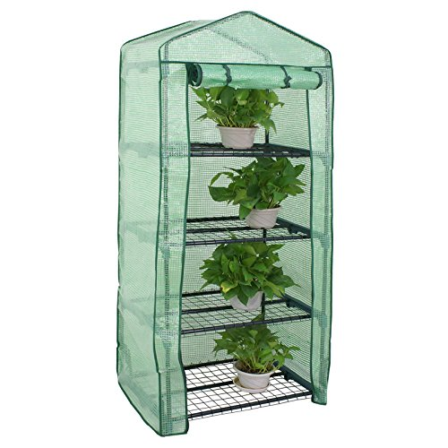 Mini Greenhouse 4 Tier Indoor Outdoor with PE Cover and Roll-Up Zipper...