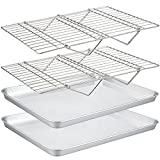TeamFar Baking Sheet with Rack Set(2 Pans & 2 Tier Racks), Stainless Steel Cookies Sheet Baking Pans & Cooling Roasting Rack for Cookie Bacon Meat, Oven & Dishwasher Safe, Healthy & Stackable